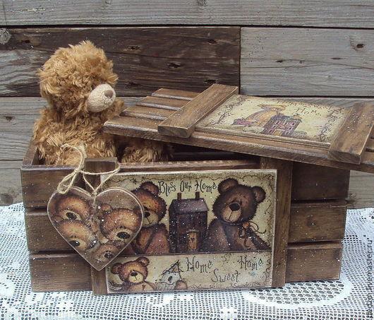 """Корзины, коробы ручной работы. Ярмарка Мастеров - ручная работа. Купить Короб для игрушек """"The family bears"""". Handmade. Коричневый"""