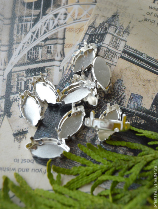 Для украшений ручной работы. Ярмарка Мастеров - ручная работа. Купить Цапы для страз наветт 7х15 мм (цвет - Никель). Handmade.