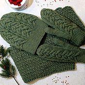 Комплекты аксессуаров ручной работы. Ярмарка Мастеров - ручная работа Комплект шапка, снуд, варежки. Handmade.