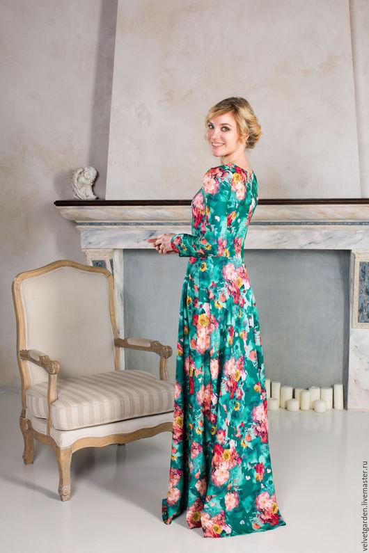 """Платья ручной работы. Ярмарка Мастеров - ручная работа. Купить Платье """" Цветы в изумрудах"""".. Handmade. Комбинированный, платье вечернее"""
