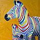 """Животные ручной работы. Ярмарка Мастеров - ручная работа. Купить Картина маслом """"Разноцветные зебры. Дочки-матери"""". Handmade. Желтый"""