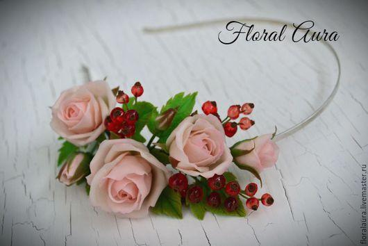 Диадемы, обручи ручной работы. Ярмарка Мастеров - ручная работа. Купить Обруч с розами и красной смородиной. Handmade. Комбинированный