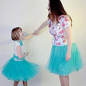 Одежда ручной работы. Ярмарка Мастеров - ручная работа Комплект Family Look фатиновые юбки и футболка детская. Handmade.