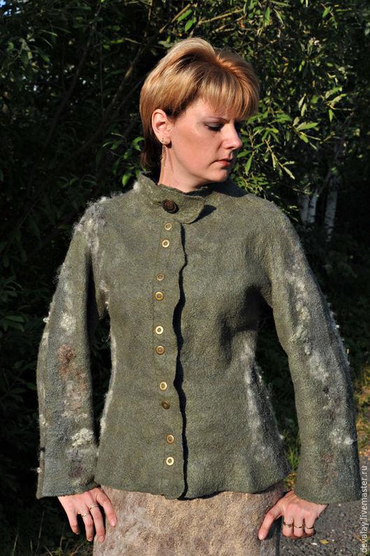 Пиджаки, жакеты ручной работы. Ярмарка Мастеров - ручная работа. Купить Валяный жакет цвета травы. Handmade. Зеленый