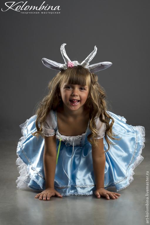 Детские карнавальные костюмы ручной работы. Ярмарка Мастеров - ручная работа. Купить костюм Коза 2. Handmade. Голубой, атлас