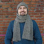 Аксессуары ручной работы. Ярмарка Мастеров - ручная работа Комплект мужской шапка + шарф.. Handmade.