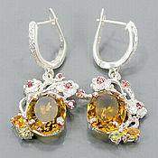 Украшения handmade. Livemaster - original item 925 sterling silver earrings with natural citrine honey quartz, garnet. Handmade.