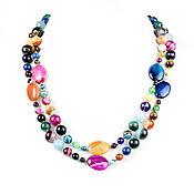 Работы для детей, handmade. Livemaster - original item Long colorful beads made of natural agate. Handmade.