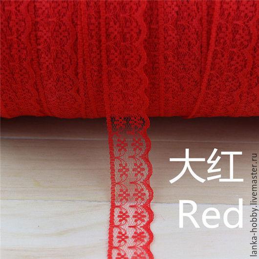 Кружево 22 мм. Цвет ` красный` Стоимость указана за 1 метр.