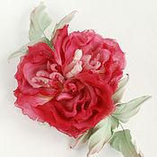 Цветы и флористика handmade. Livemaster - original item Silk flowers. Brooch Rose