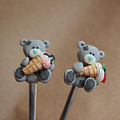 """Посуда ручной работы. Ярмарка Мастеров - ручная работа Ложка с декором """"Мишка Тедди"""". Handmade."""