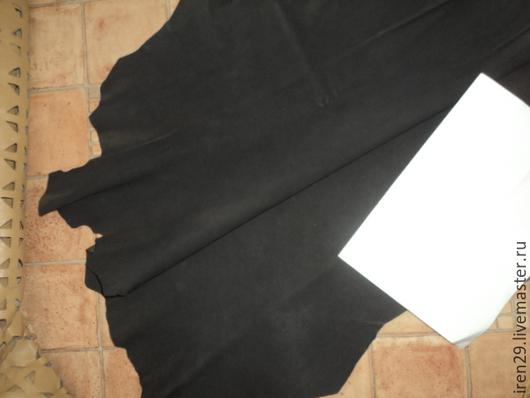 """Шитье ручной работы. Ярмарка Мастеров - ручная работа. Купить Натуральная кожа-велюр """"Выгоревший черный"""". Handmade. Кожа"""