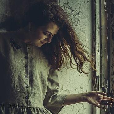 """Одежда ручной работы. Ярмарка Мастеров - ручная работа Льняное платье """"Патина"""". Handmade."""