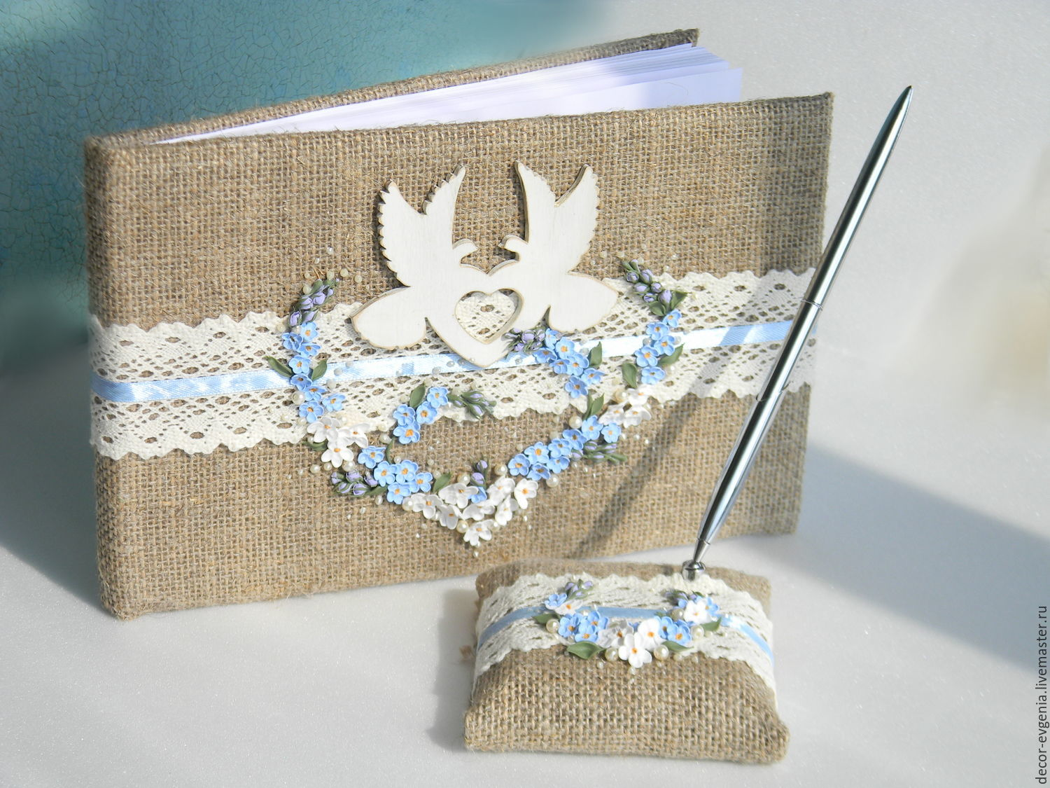 Wedding Guest Book, Rustic Guest Book, Doves, Forget-me-nots, Rustic, Books, Moscow,  Фото №1
