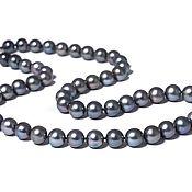 Украшения ручной работы. Ярмарка Мастеров - ручная работа Ожерелье из иссиня-чёрного речного жемчуга АА 8-8,5мм. Handmade.