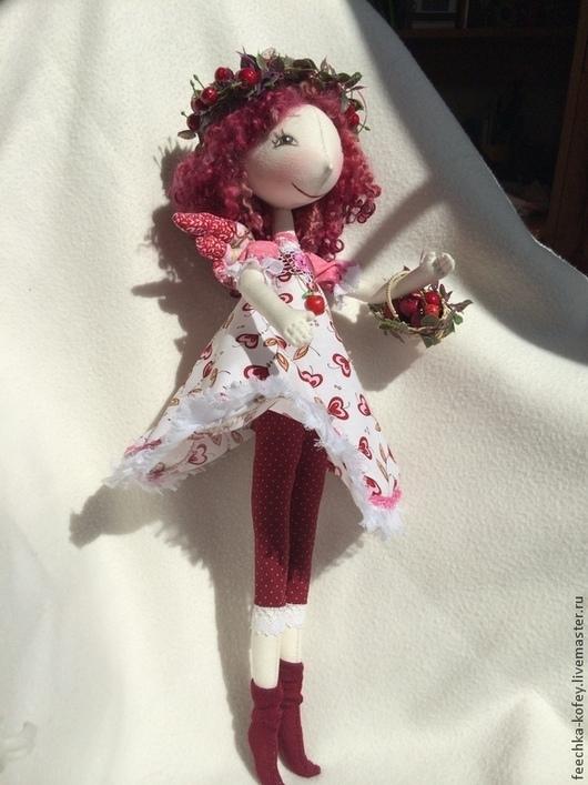 Коллекционные куклы ручной работы. Ярмарка Мастеров - ручная работа. Купить кукла текстильная, Вишенка, ягодки. Handmade. Вишенка, кружева