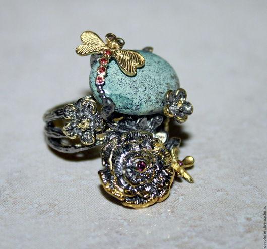 """Кольца ручной работы. Ярмарка Мастеров - ручная работа. Купить Кольцо бирюза серебро и золото """"Каприз"""". Handmade. Тёмно-бирюзовый"""