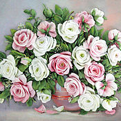Картины и панно handmade. Livemaster - original item The picture ribbons of the Winter roses. Handmade.