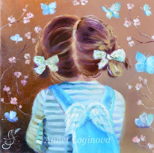 Фантазийные сюжеты ручной работы. Ярмарка Мастеров - ручная работа. Купить Голубые бабочки. Handmade. Девочка, картина ангел, ребенок