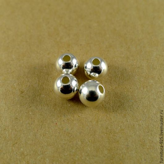 Для украшений ручной работы. Ярмарка Мастеров - ручная работа. Купить Серебряная бусина 8 мм из стерлингового серебра 925 пробы. Handmade.