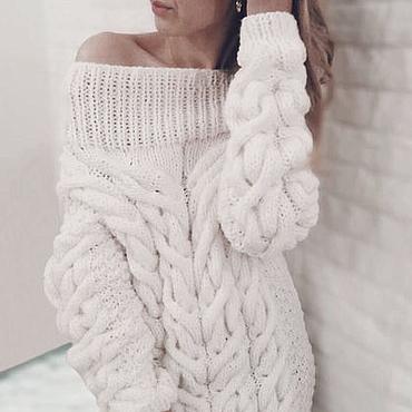 Одежда ручной работы. Ярмарка Мастеров - ручная работа Белый длинный свитер женский вязаный. Handmade.