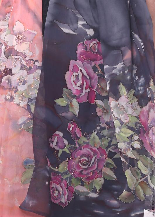 Шарфы и шарфики ручной работы. Ярмарка Мастеров - ручная работа. Купить Палантин - rose and jasmine - batic. Handmade. Батик