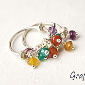 Украшения handmade. Livemaster - original item Silver earring with gems. Handmade.