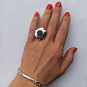 Украшения handmade. Livemaster - original item Flower ring with enamel 925 sterling Silver. Handmade.