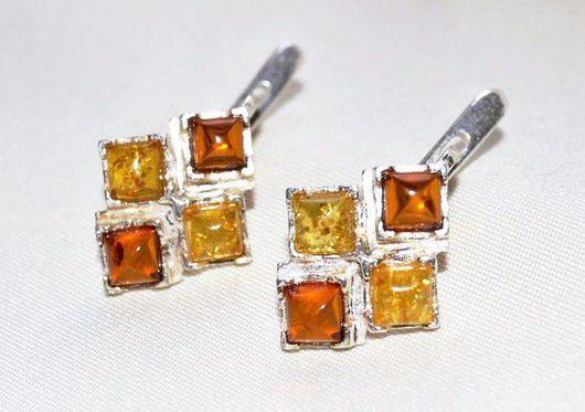 """Серьги ручной работы. Ярмарка Мастеров - ручная работа. Купить Серьги """"Amber"""". Handmade. Рыжий, янтарные серьги, авторские украшения"""