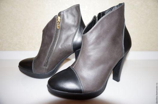 Обувь ручной работы. Ярмарка Мастеров - ручная работа. Купить Ботильоны женские. Handmade. Серый, индивидуальный пошив, удобная обувь