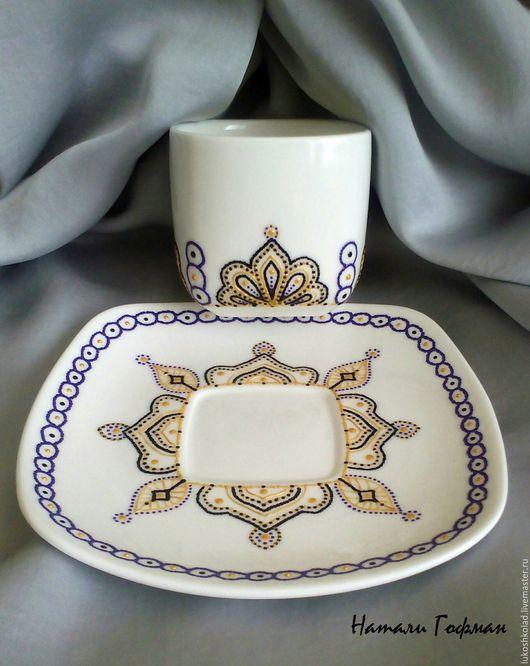 Кофейная пара точечная роспись `Восточная фантазия`