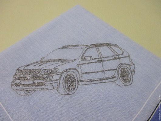 Носовые платочки ручной работы. Ярмарка Мастеров - ручная работа. Купить Носовой платок с вышивкой , машинки BMW X5. Handmade.