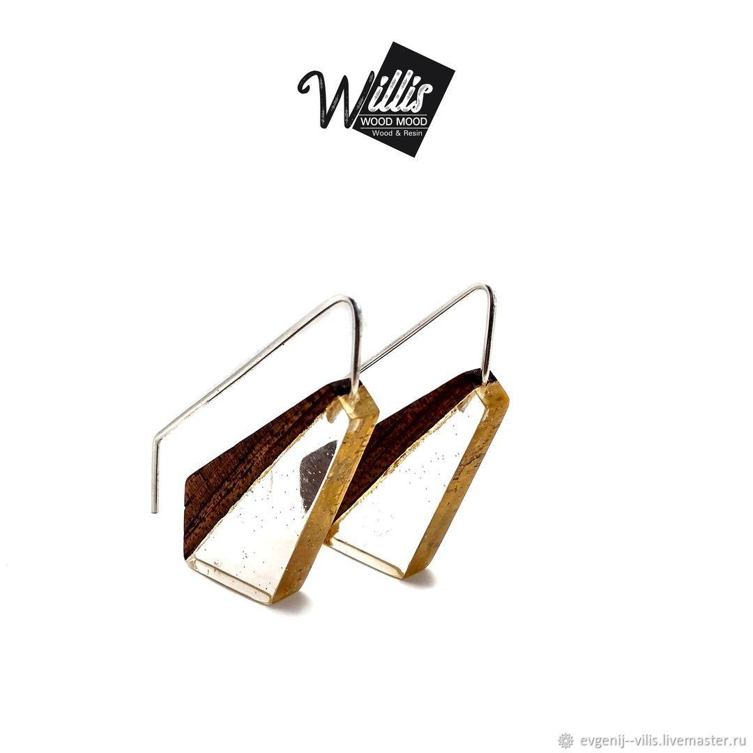 Серьги ручной работы. Ярмарка Мастеров - ручная работа. Купить Дизайнерские серьги из дерева и ювелирной смолы. Handmade. Бижутерия