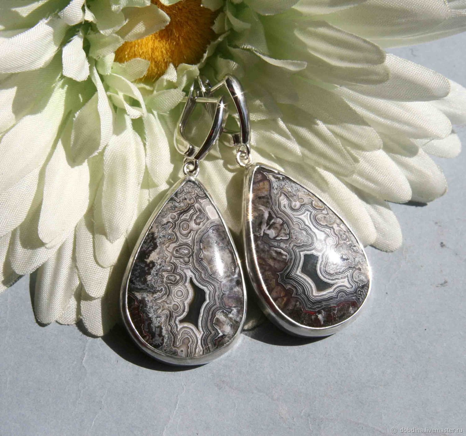 Earrings Handmade Livemaster With Crazy Lace Agate Silver