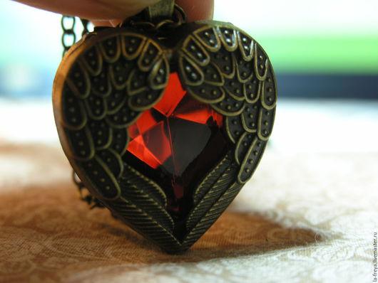 Кулоны, подвески ручной работы. Ярмарка Мастеров - ручная работа. Купить Je t'aime- кулон Сердце на бронзовой цепочке. Handmade.