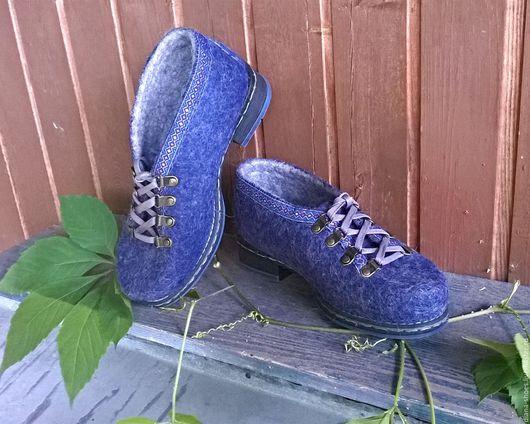 Обувь ручной работы. Ярмарка Мастеров - ручная работа. Купить Полуботинки на шнурках с отделкой из тесьмы. Handmade. Комбинированный, обувь на осень