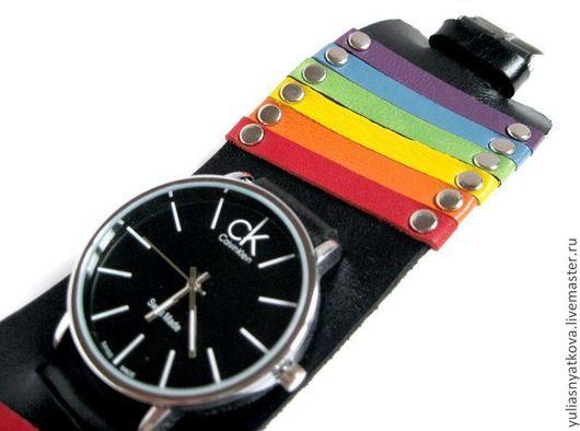 Часы ручной работы. Ярмарка Мастеров - ручная работа. Купить Радужные часы, браслет из натуральной кожи.. Handmade. Радужные часы