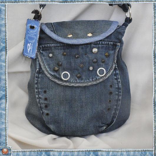 Женские сумки ручной работы. Ярмарка Мастеров - ручная работа. Купить Маленькая джинсовая сумочка-карман. Handmade. Однотонный, голубой