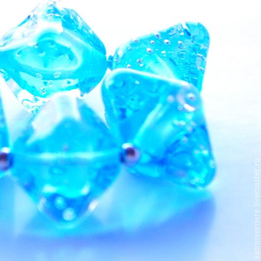 """Для украшений ручной работы. Ярмарка Мастеров - ручная работа. Купить Бусины-кристаллы """"Кислород"""". Handmade. Бирюзовый, вода, морской"""