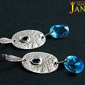 Украшения handmade. Livemaster - original item topaz. Earrings with blue Topaz swiss elite hardware. Handmade.