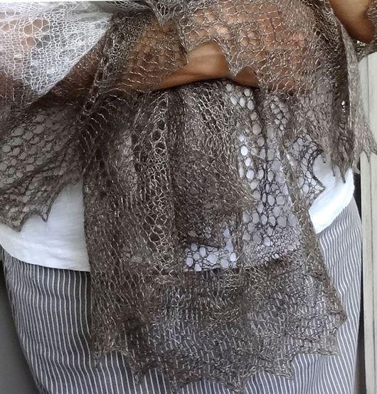 Палантин пуховый оренбургский ажурный вязаный ручная работа
