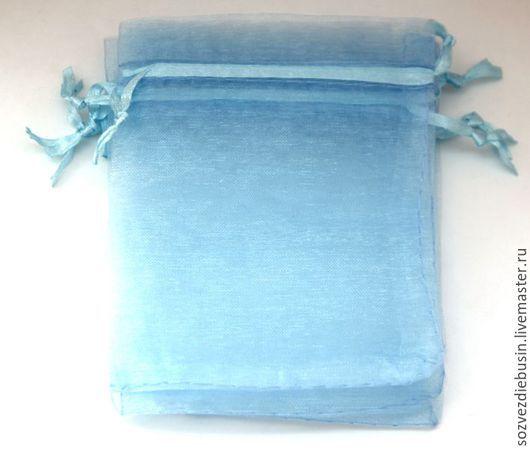 Упаковка ручной работы. Ярмарка Мастеров - ручная работа. Купить Мешочки из органзы, без рисунка, голубые, 9x12см. Handmade. Мешочки