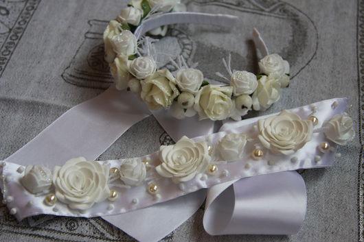 Диадемы, обручи ручной работы. Ярмарка Мастеров - ручная работа. Купить Ободок для волос и пояс для платья нежные розы. Handmade.