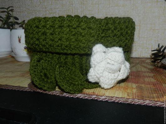 """Шарфы и шарфики ручной работы. Ярмарка Мастеров - ручная работа. Купить """"Белая роза"""". Handmade. Тёмно-зелёный, белая роза"""