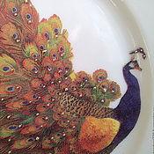 Посуда ручной работы. Ярмарка Мастеров - ручная работа ДЕКОРАТИВНАЯ ТАРЕЛКА СУВЕНИРНАЯ ДЕКУПАЖ ПАВЛИН. Handmade.