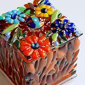 Для дома и интерьера ручной работы. Ярмарка Мастеров - ручная работа шкатулка из стекла, фьюзинг Полянка. Handmade.