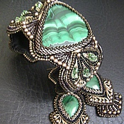 Украшения handmade. Livemaster - original item Bracelet and earrings with malachite