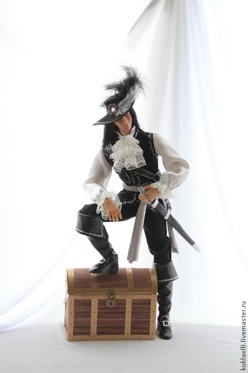Коллекционные куклы ручной работы. Ярмарка Мастеров - ручная работа. Купить Капитан Питер Блад. Handmade. Чёрно-белый, текстиль