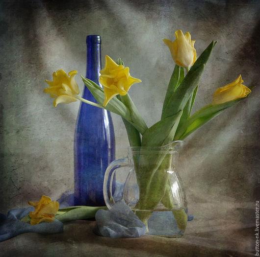 Фотокартины ручной работы. Ярмарка Мастеров - ручная работа. Купить Натюрморт с синей бутылкой из серии  Любимые цвета Ван Гога. Handmade.