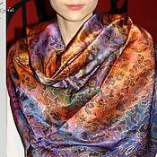 """Аксессуары ручной работы. Ярмарка Мастеров - ручная работа """"Двойное очарование: фиолетово-оранжевый"""" шелковый платок. Handmade."""
